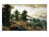 An Extensive Wooded Landscape, with Cottages in the Foreground, and a River in the Distance, 1651 Art by Joseph Bail
