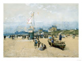 Figures on the Beach, at Deauville or Trouville Giclee Print by Federico Ballesio