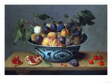 Peaches and Plums in a Blue and White Chinese Bowl, with Other Fruit on a Table Premium Giclee Print by Joseph Bail