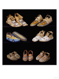 An Assortment of Arapaho, Crow, Western Sioux, Apache and Blackfeet Beaded Hide Moccasins Giclee Print