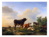 A Bull, a Cow, a Donkey, a Goat, a Dog, Sheep and Poultry in an Extensive Landscape, 1849 Giclee Print by Joseph Bail