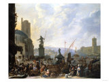 A Capriccio of a Mediterranean Port, with Numerous Figures, 1651 Giclée-tryk af Cristofano Allori