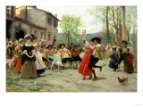 Silks and Satins at the Wedding Dance Giclee Print by Carl Frederic Aagaard