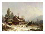 The Old Mill in Winter Art by Eugène Boudin