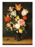 Tulips, Roses and Other Flowers in a Glass Vase Print by Hendrik Avercamp