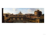 The Castel St.Angelo, Rome, with the Ponte St. Angelo Giclee Print by Canaletto 