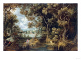 Riders in a Wooded River Landscape Prints by Giovanni Battista Benvenuti