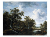 A Wooded Landscape with an Angler and Other Figures by a Pond, 1664 Poster by Herri Met De Bles