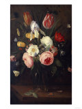 Roses, Tulips and Other Flowers in a Glass Vase, with Insects, on a Table Giclee Print by Jean-Baptiste-Camille Corot