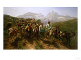 Spanish Muleteers Crossing the Pyrenees, 1857 Giclee Print by Henry Thomas Alken