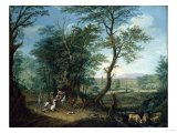 An Extensive Wooded Landscape with a Horse Stumbling on a Country Road Giclee Print by Giovanni Battista Benvenuti