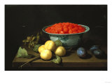 Strawberries in a Bowl, with Other Fruit, on a Table Giclee Print by Joseph Bail