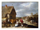 A Milkmaid and Shepherd Outside a Cottage, Circa Late 1640s Prints by Vincente Carducho