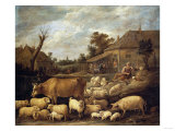 A Shepherd and His Flock by a Tavern Prints by Vincente Carducho