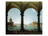 A Portico, with a View of the Bacino, Venice Giclee Print by Giovanni Battista Benvenuti