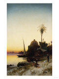 Arab Men Praying by the Nile at Sunset Art by Leon Bakst