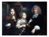 A Family Group, the Flower Garland May be by Jean Baptiste Monnoyer (1636-1699) Giclee Print by Giovanni Battista Benvenuti