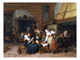 Peasants Eating Waffles in a Tavern on a Feast Day, 1693) Reproduction proc&#233;d&#233; gicl&#233;e par Jan Brueghel the Elder