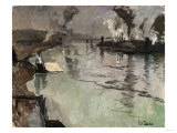 Smokestacks Along the River Giclee Print by Leon Bakst