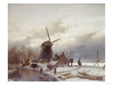 A Frozen River Landscape with a Windmill Giclee Print by Sir Lawrence Alma-Tadema