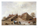 A Farm Yard with Figures Round a Table Giclee Print by Jan Brueghel the Elder
