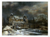 A Winter Landscape with Buildings by a Footbridge Poster by Herri Met De Bles