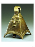 An Owo Brass Bell of Pyramidal Form with a Human Face in Relief Giclee Print