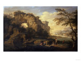 A Rocky River Landscape with Fishermen Giclee Print by Frederick Arthur Bridgman