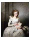 Portrait of Lady Boynton, Seated in White Costume with Her Child, in an Interior Prints by Vincente Carducho