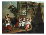 A Musical Company in a Park with a Huzzar and a Lady Dancing, 1745 Giclee Print by Alfred Thompson Bricher