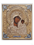 An Enamel and Silver-Gilt Icon of the Virgin Kazanskaya, the Oklad Marked Moscow, 1899-1908 Giclée-tryk