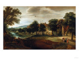 A Wooded River Landscape, with Village Buildings and Abraham and the Three Angels Premium Giclee Print by Joseph Bail