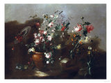 Roses and Other Flowers in Urns with Flowers and Cherries by a Ruin Prints by Alfred Thompson Bricher