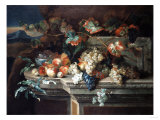 A Still Life with Grapes and Peaches on a Stone Ledge in a Landscape Giclee Print by Arnold Boonen