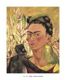Self-Portrait with Monkey and Parrot, c.1942 Affiche par Frida Kahlo