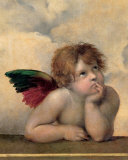 Detail of the Sistine Madonna, c.1514 Prints by Raphael