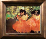 Ballerina in Red Framed Canvas Print by Edgar Degas