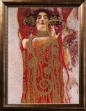 Hygieia (detail from Medicine) Framed Canvas Print by Gustav Klimt