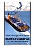 Through Trucks via Harwich and Zeebrugge Giclee Print