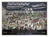 Waterloo Station, Southern Railway, 1948 Giclee Print by Helen Mckie