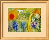 Amantes de Vence Lámina por Marc Chagall