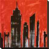 Red Cityscape Stretched Canvas Print by Paul Brent