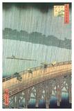 Sudden Shower Over Ohashi Bridge and Atake Poster van Ando Hiroshige