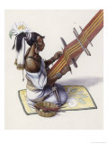 Mayan Woman's Water Lily and Decorated Mat Indicate Royal Blood Giclee Print by Terry Rutledge