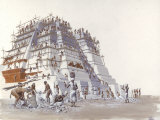 Mayan Laborers Fit and Mortar a Temple's Limestone Blocks Giclee Print by Terry Rutledge