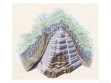 Cut Away of a Maya Ziggurat Covered by Soil and Trees Giclee Print by Terry Rutledge