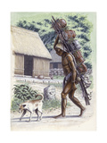 Mayan Man Carrying Pots on a Cacaste Giclee Print by Terry Rutledge