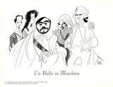 Un Ballo in Maschera, with Pavarotti Print by Al Hirschfeld