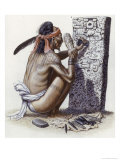 Mayan Artisan Readies a Limestone Stela Used to Record Noble Events Giclee Print by Terry Rutledge