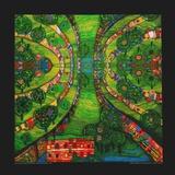 Grüne Stadt, ca. 1978 Kunstdrucke von Friedensreich Hundertwasser